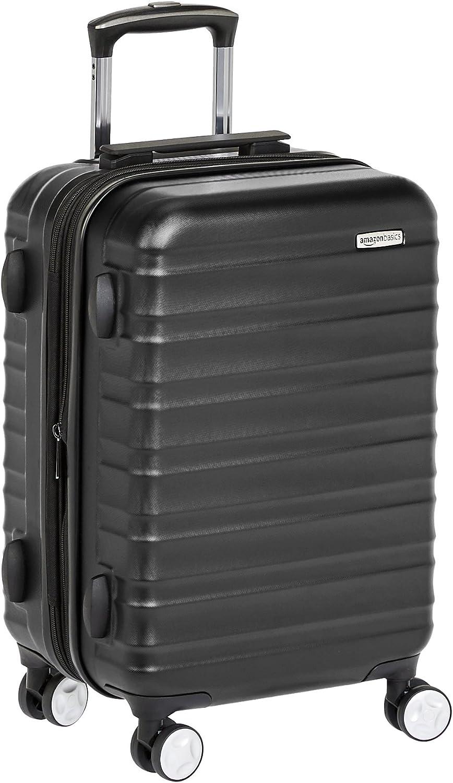 AmazonBasics - Maleta de mano rígida de alta calidad, con ruedas y cerradura TSA incorporada, 55 cm, Negro