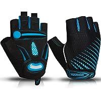 BIKINGMOREOK Half Finger Shockproof Cycling Gloves Reflective Bike Gloves Anti-Slip Bicycle Gloves Bicycling Riding Biking Gloves Outdoor Sports for Men Women Boys Girls 1pair