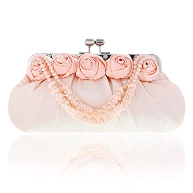 5601aaddd85 Damara Womens Satin Rose Pearl Grab Handle Wedding Purse, Light Pink:  Handbags: Amazon.com