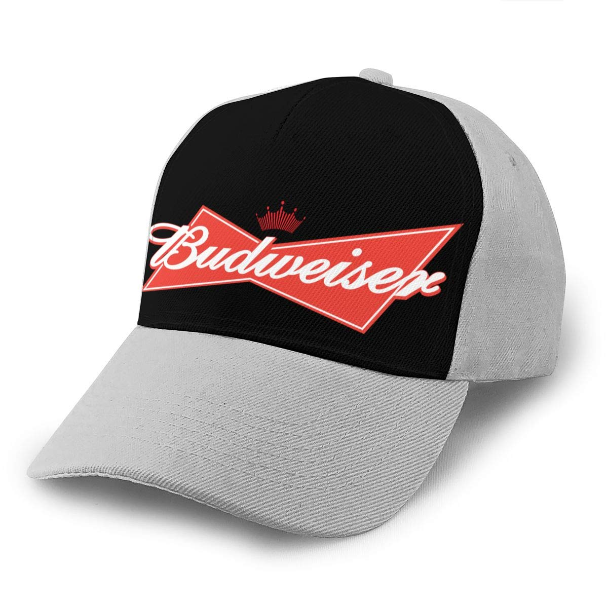 Adjustable Women Men Budweiser-Logo Print Baseball Cap Flat Brim Cap Hats Hip Hop Snapback Sun Hat Boys Girls Gray by Apolonia