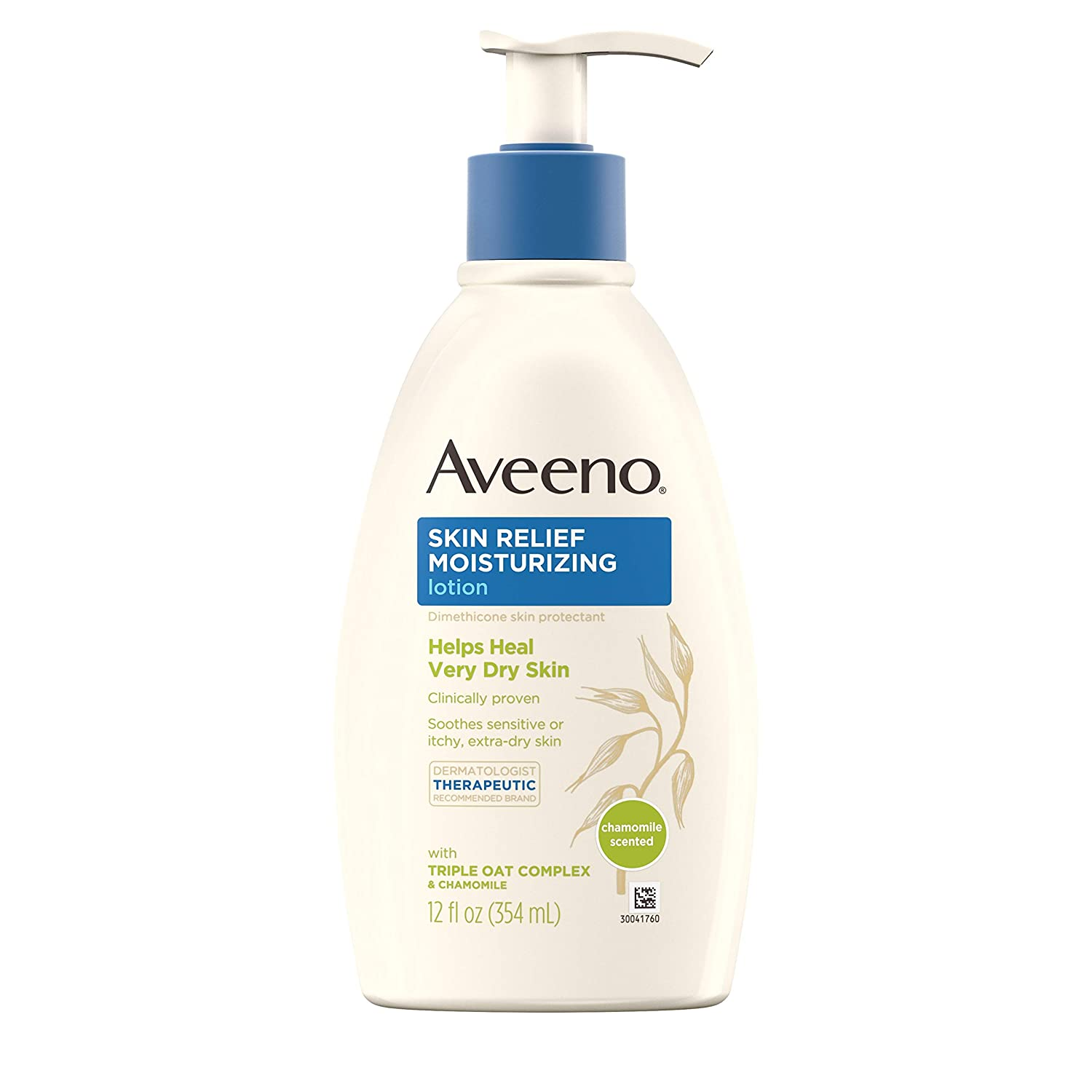 Aveeno Skin Relief Moisturizing Lotion with Chamomile Scent & Triple Oat Complex, Dimethicone Skin Protectant for Sensitive & Extra-Dry Itchy Skin, 12 fl. oz