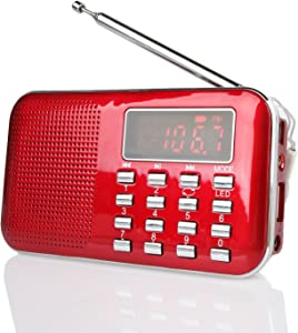 Raddy RF23 AM FM Portable Pocket Radio Battery Operated, Digital Tuning, MP3 Music Player, Lightweight and Ultra Thin, Support TF Card AUX USB Disk, Flashlight (Red)