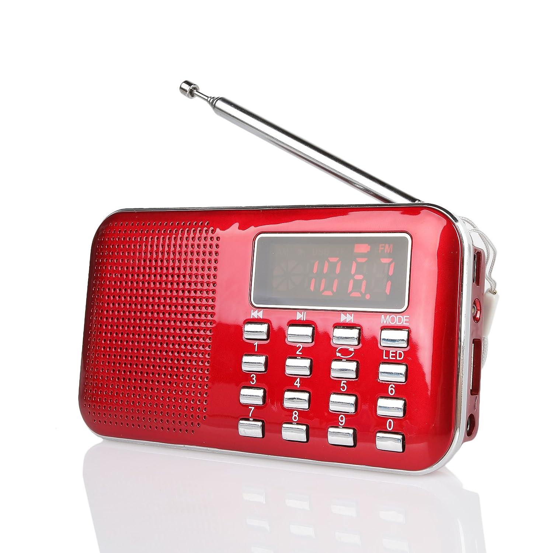Radioddity RF23 Portable AM/FM Transistor Radio MP3 Music Player, Light and Ultra Thin, Support Micro TF Card USB, Flash Light (Red) 397586033