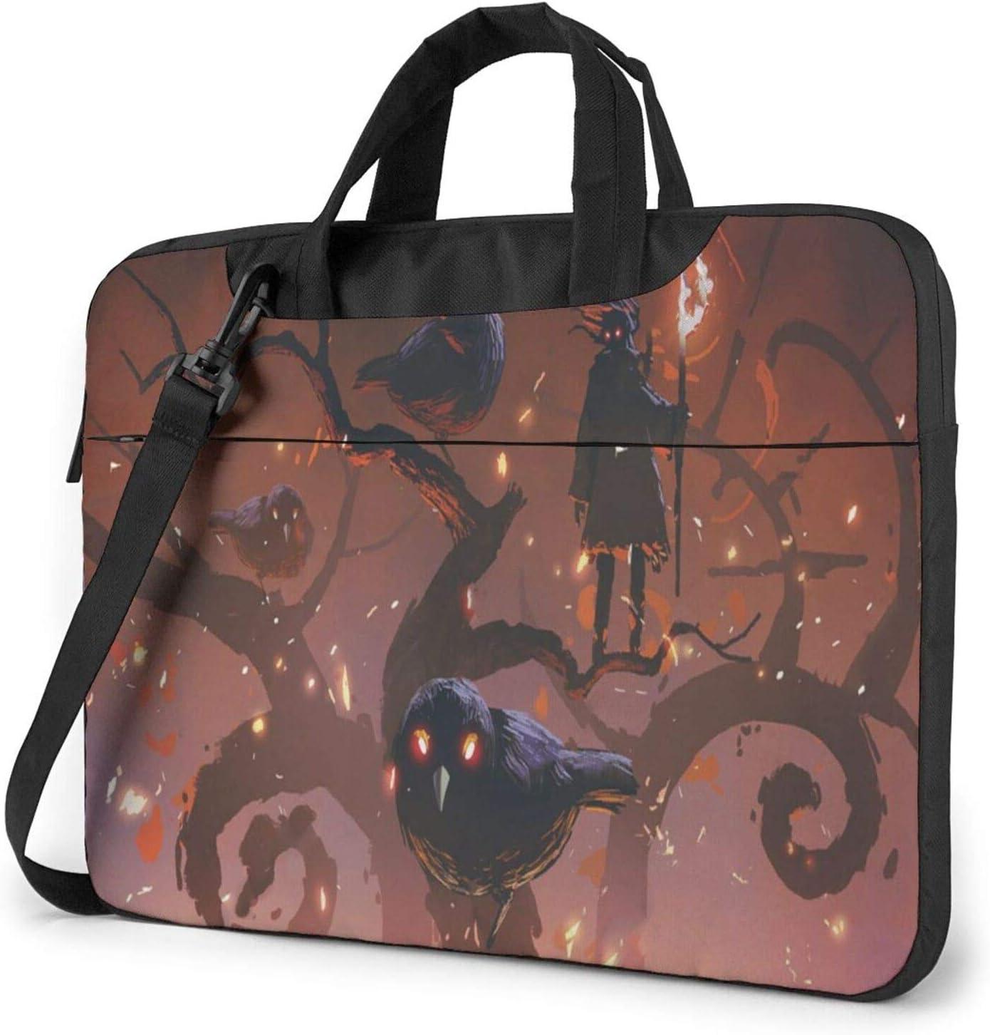 Black Crows Laptop Shoulder Messenger Bag,Laptop Shoulder Bag Carrying Case with Handle Laptop Case Laptop Briefcase 15.6 Inch Fits 14 15 15.6 inch Netbook/Laptop