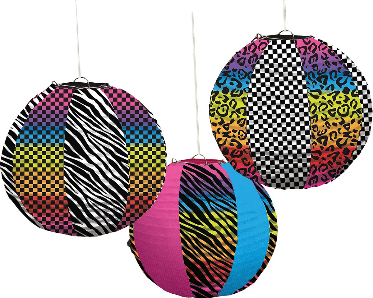 Fancy 80s Party Retro Neon Animal Print Celebration Paper Lanterns
