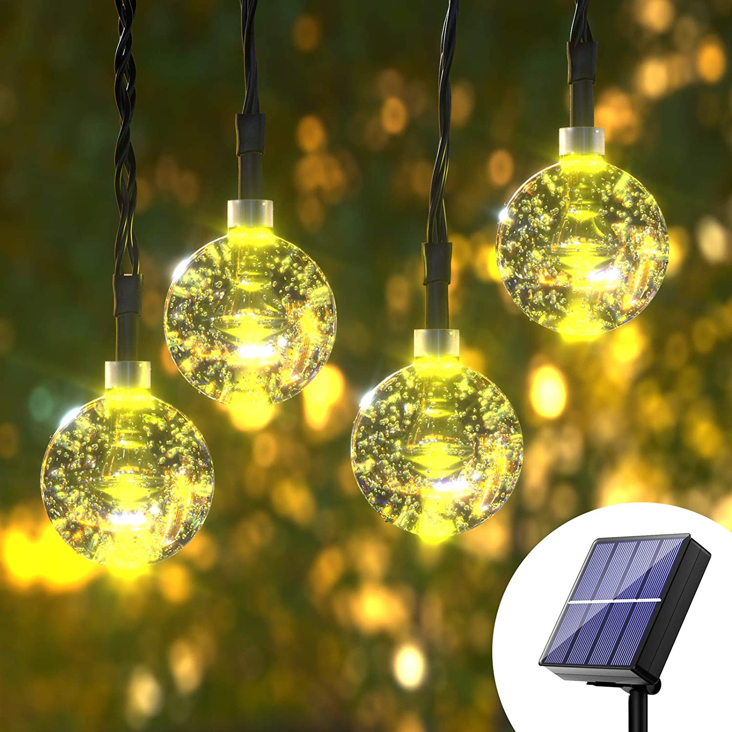 Globe Outdoor String Lights Solar - 36ft 8 Mode 60 LED Crystal Solar Power String Ball Lights Waterproof Weatherproof Mini Light String for Gazebo, Patio, Garden, Christmas Decorations, Warm White