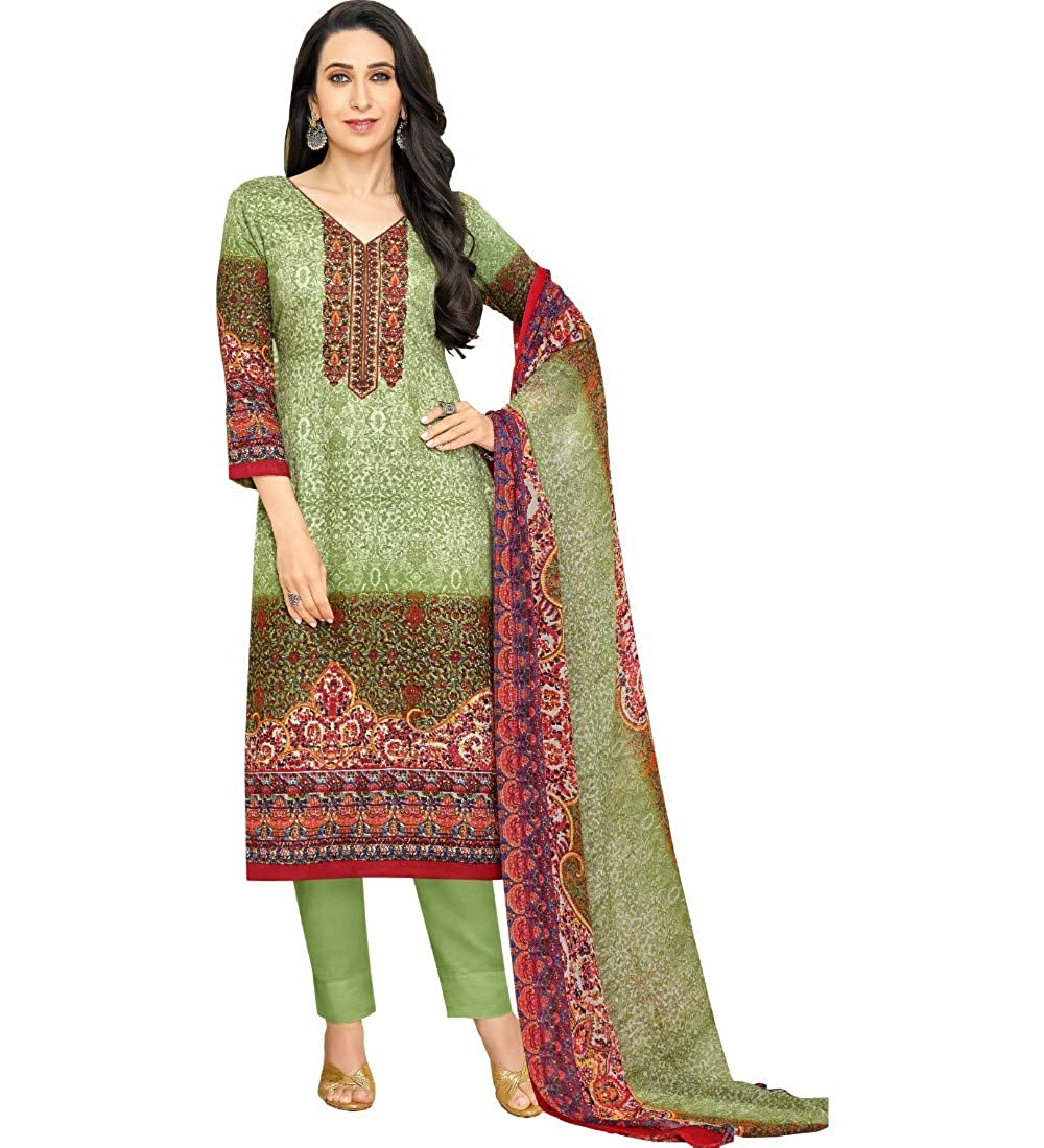 986c84c401 M F Green Satin Cotton Printed & Embroidered Unstitched Salwar Suit ...