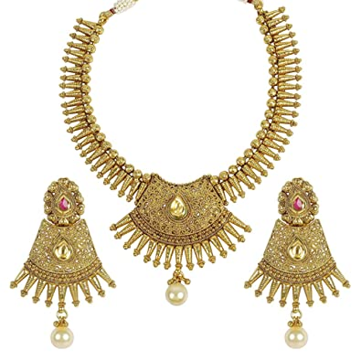 aa683cd2c9897 Amazon.com: MUCH-MORE Indian Traditional Fashion Polki Necklaces ...