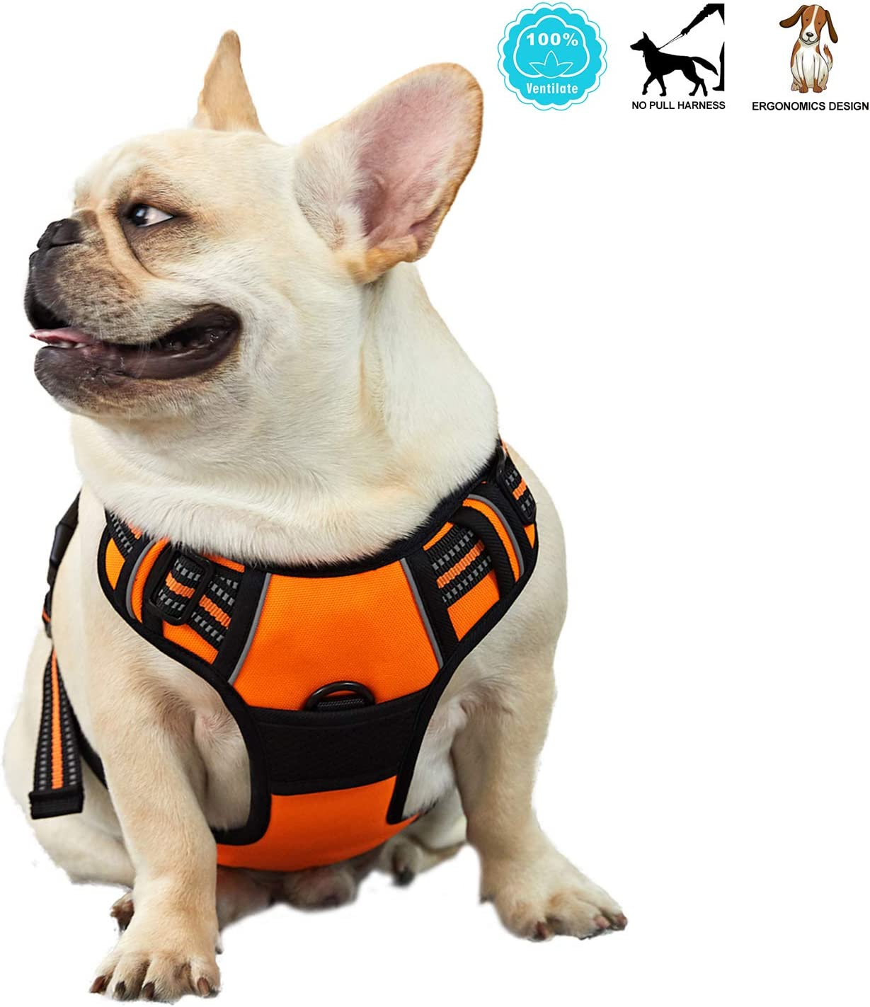 ANWA Dog Walking Harness No Pull, Adjustable Pet Reflective Soft Vest, Durable Dog Harness Control Handle Medium Orange