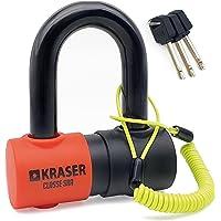 KRASER KR50 Candado Homologado Sra Antirrobo Disco Moto Mini U Sólida Ø18 + Cable Recordatorio, 3 Llaves, Negro y…