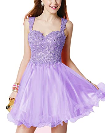 Homecoming Dresses for Juniors Short Tulle Applique Beaded Prom Dresses at Amazon Womens Clothing store: