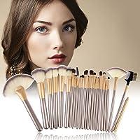 SEASHELL Makeup Brush Set, 24 Pcs Makeup Brush Professional Wood Handle Premium Synthetic Kabuki Foundation Blending Blush Concealer Eye Face Liquid Powder Cream Cosmetics Lip Brush Tool Brushes Kit