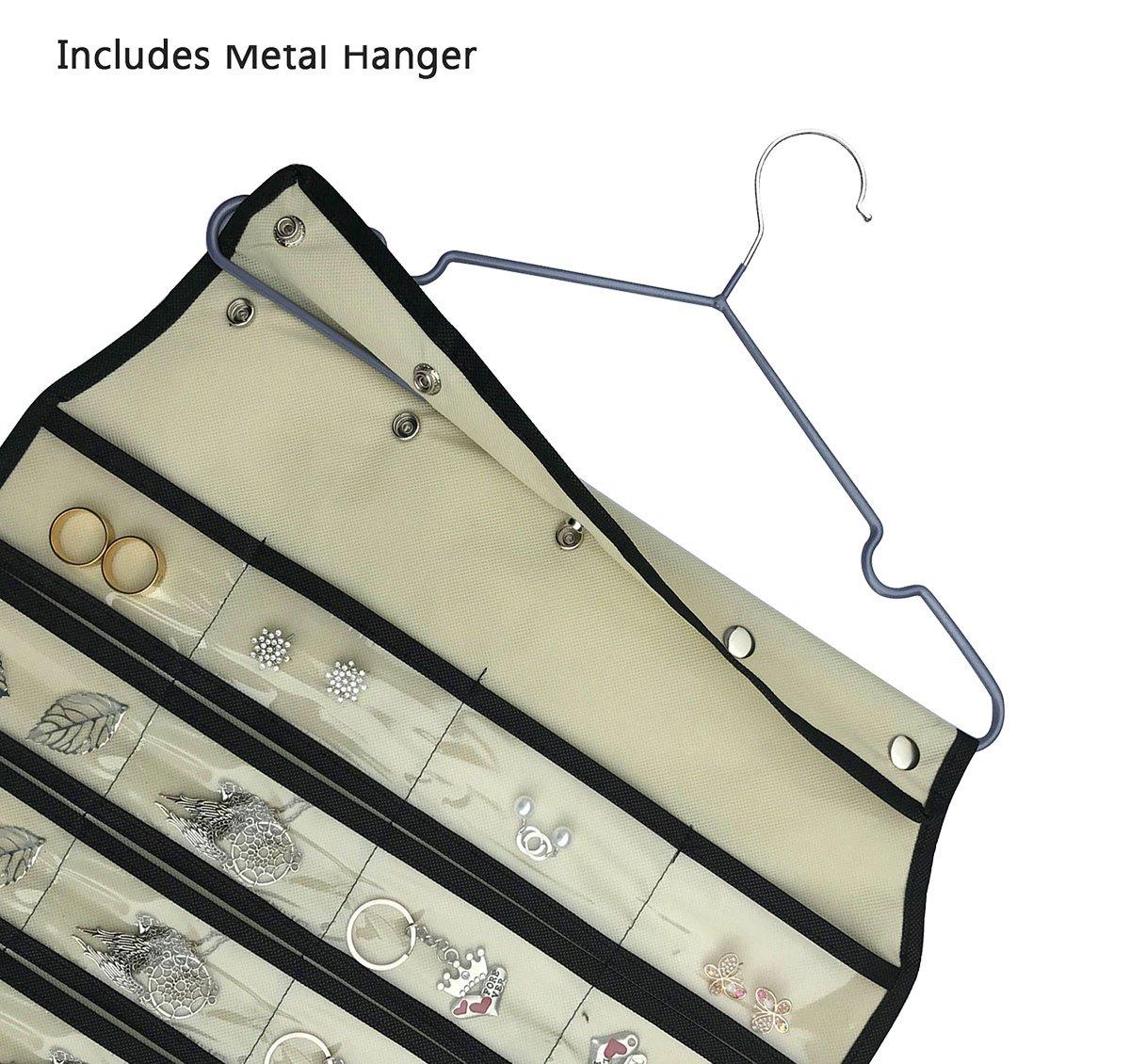 BB Brotrade HJO80 Hanging Jewelry Organizer,80 Pocket Organizer for Holding Jewelries Beige