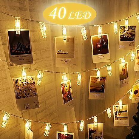 LED Foto Clips Cadena Luces BEQOOL 40 LED 6 Metros USB Iluminación Luces para Colgar Fotos