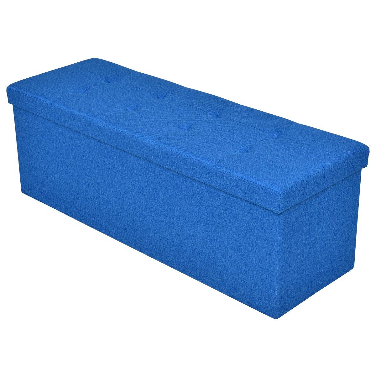 Giantex 43''x15''x15'' Large Folding Storage Ottoman Coffee Table Foot Rest Stool (Blue)