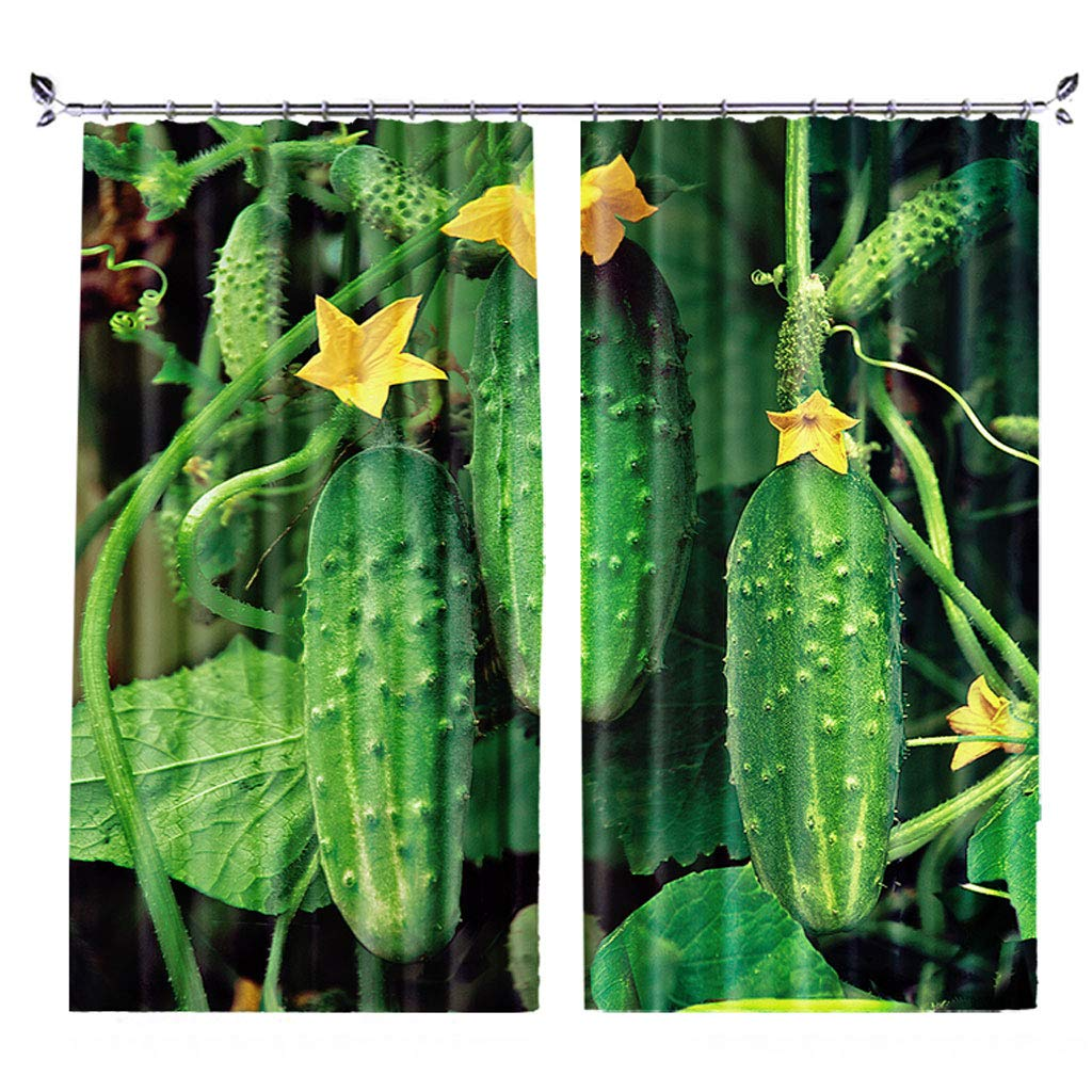 ZZHL Curtains Curtains,Hooks Rings Thermal Insulated Bedroom Blackout for Livingroom Kitchen 2 Panels Vegetables (Size : 150x270cm) by ZZHL (Image #1)