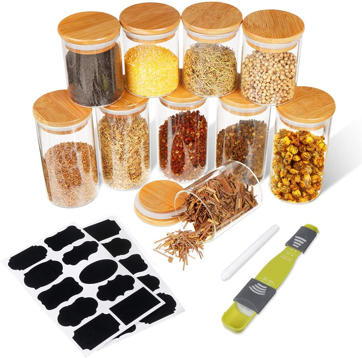 Small Glass Jars with Bamboo Lids, SAWAKE Airtight Canisters Set for Kitchen Pantry Organization, Clear Glass Food Storage Containers Set of 10 for Tea, Herbs, Spice, Salt (8.5oz x 5+11.8oz x 5)
