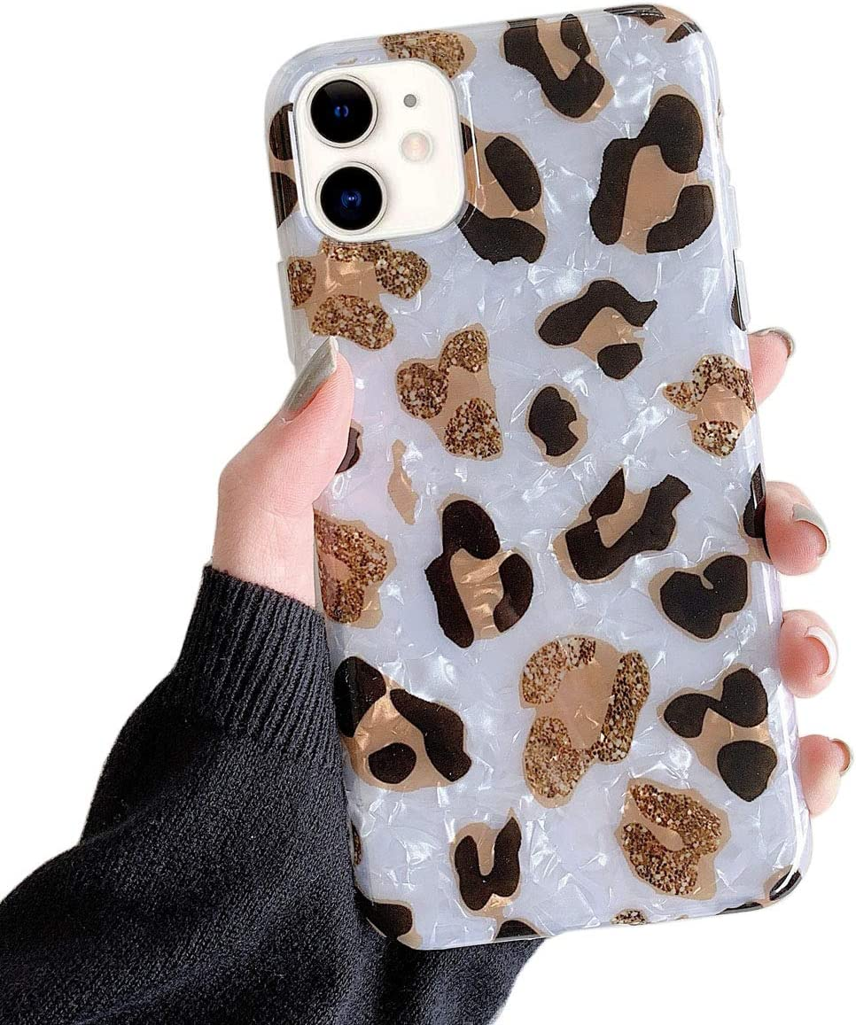 Qokey Case for iPhone 11 2019 Cute Slim Fit Ultra Thin Sparkle Bling Crystal Clear Soft Bumper Lightweight TPU Silicone Anti-Scratch Phone Cover for iPhone 11 6.1 inch for Girls Women Leopard