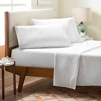 LINENSPA Brushed Microfiber Ultra Soft Bed Sheet Set   Wrinkle Resistant    Twin Size   White