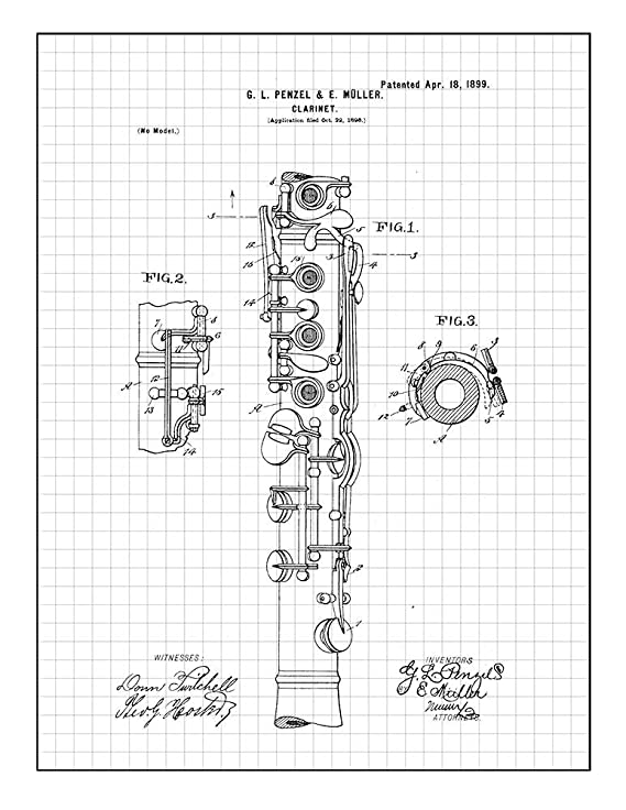 Amazon Com Clarinet Patent Print Art Poster Red Grid 8 5 X 11