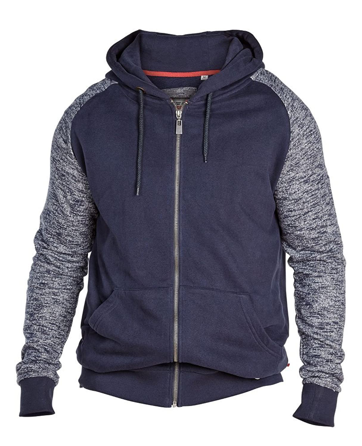 D555 Hoodie with Contrast Sleeves, Navy Blue 3XL - 6XL