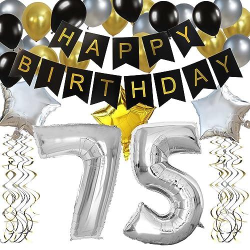 KUNGYO Classy 75TH Birthday Party Decorations Kit Black Happy Brithday BannerSilver 75 Mylar