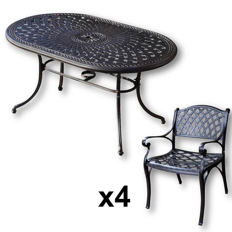 Lazy Susan - JUNE 150 x 95 cm Ovaler Gartentisch mit 4 Stühlen ...