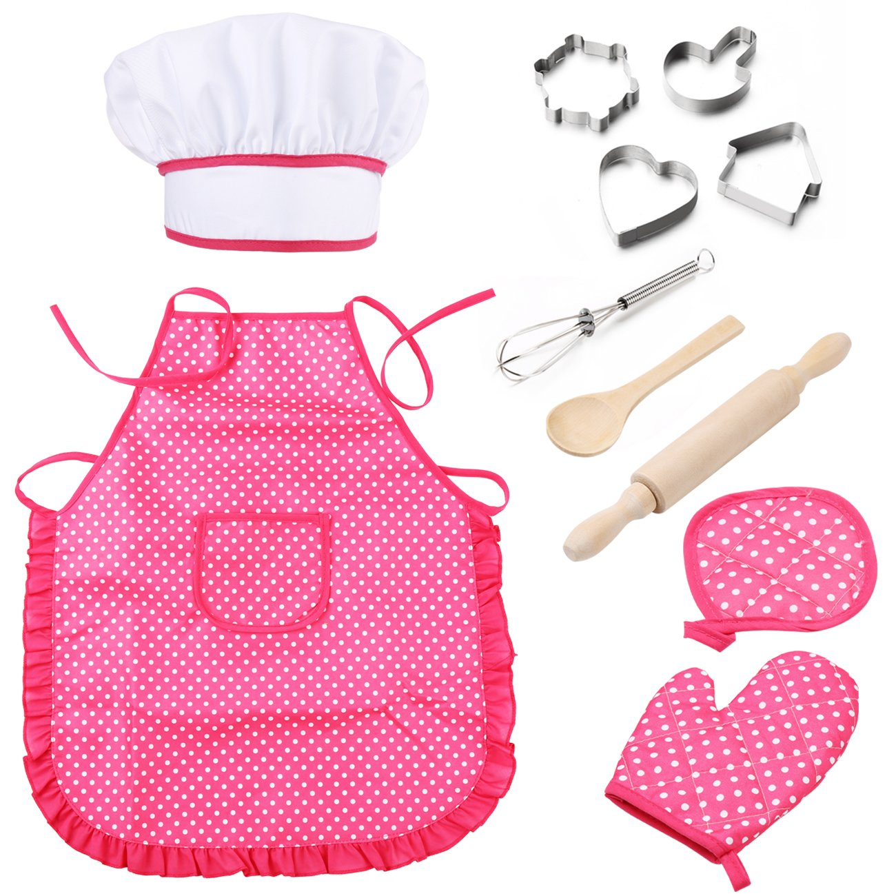 Mansalee Chef Set for Kids, Girls Apron Set, Easter Cookie Cutter Set, Cooking Play Set, 11 Pcs Great Gift, Chef Hat, and Other Accessories for Toddler Career Role Play Children Pretend Play (Pink) ShangSheng WQ5103