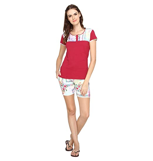 0d4165f2bf Nightwear for Women - Night Suit - Summer Wear - Top   Shorts Combo Set -  Sinker Material - Maroon Color ...