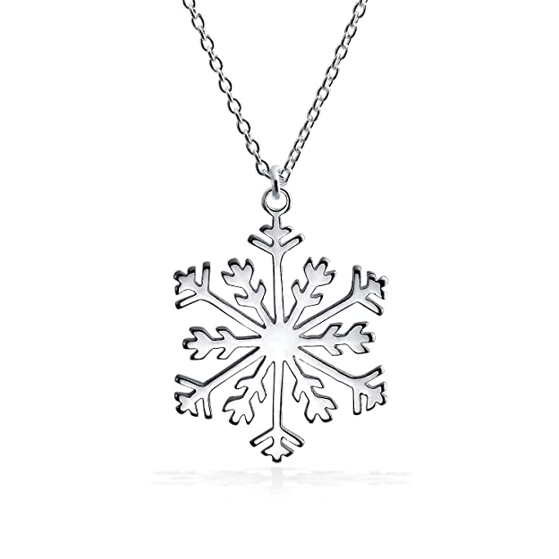 c08de3c1b Amazon.com: Holiday Winter Snowflake Pendant Necklace For Women For Teens  High Polish 925 Sterling Silver With Chain: Pendant Necklaces: Jewelry