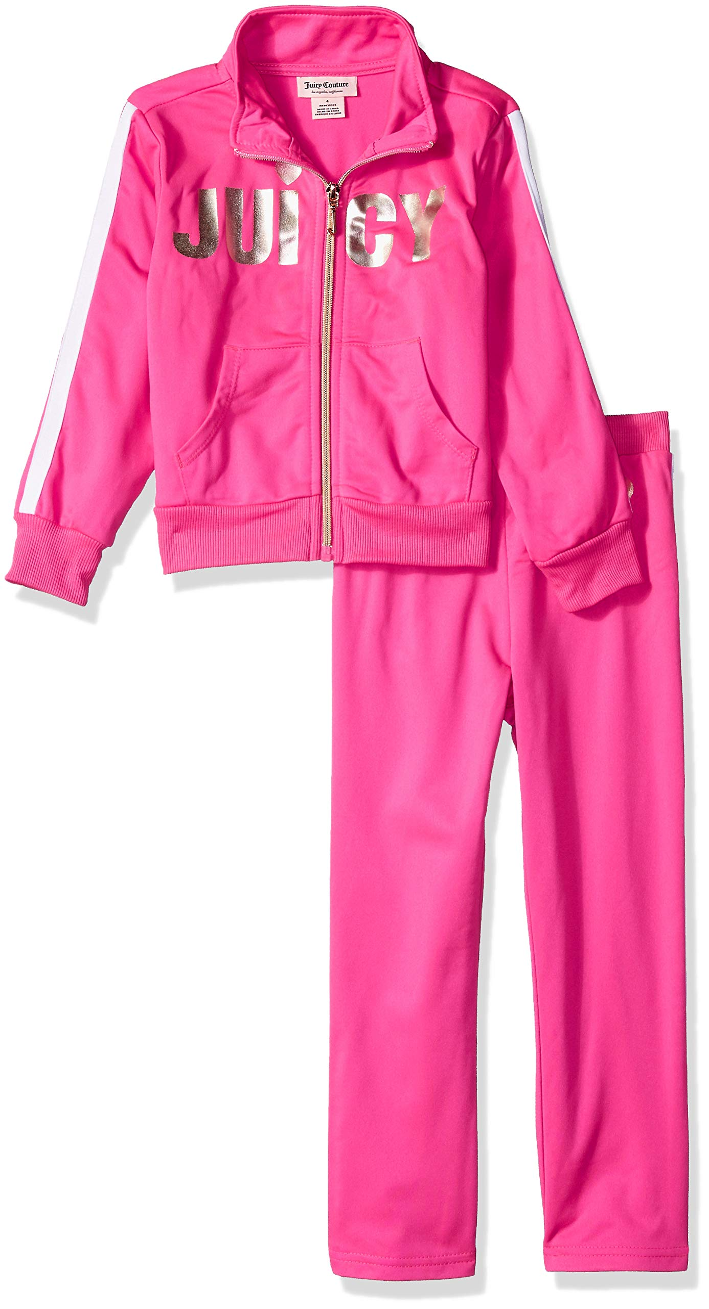 Juicy Couture Girls' Big 2 Pieces Track Pants Set, Pink 12