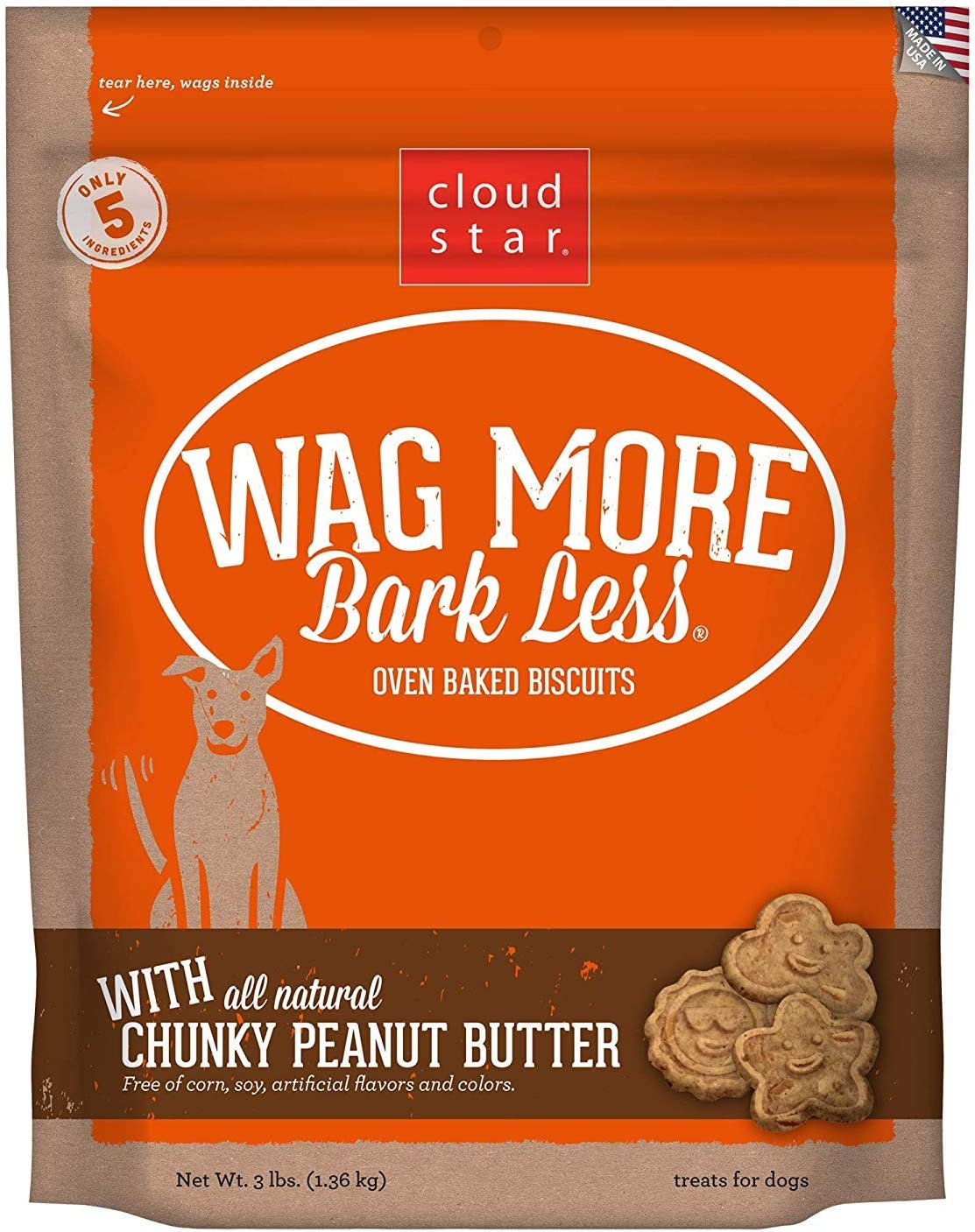 Cloud Star Wag More Bark Less Oven Baked, Crunchy Dog Treats, Limited Ingredients Baked in the USA