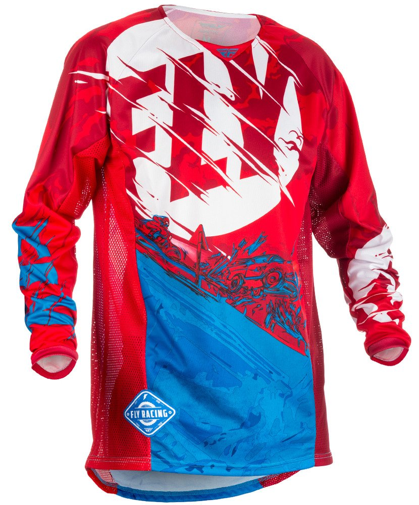 Fly Racing Men's Kinetic Outlaw Jersey (Red/Blue, Small)
