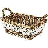 Juvale Wicker Basket - Woven Fruit Basket, Storage Basket for Food, Picnics, Vintage Decoration, Brown - 8.5 x 5.5 x 3.5 Inches