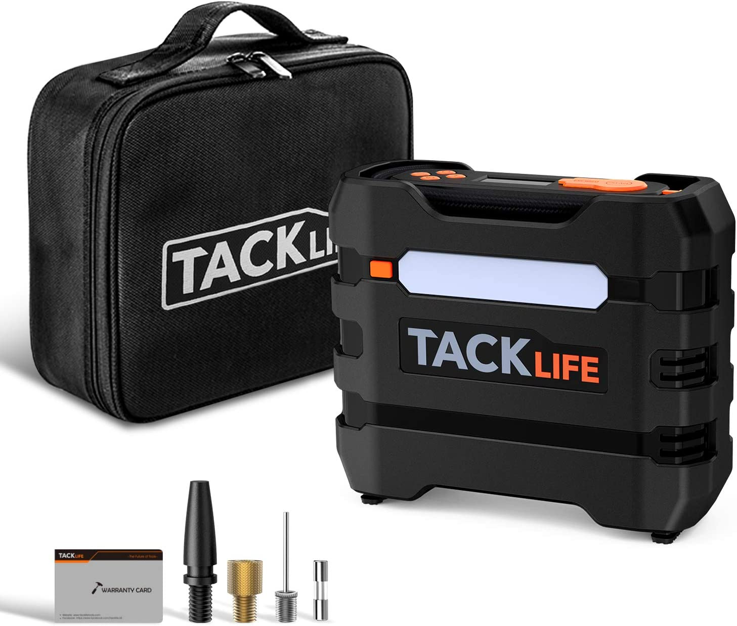 TACKLIFE 12V DC Digital Tire Inflator Portable Air Compressor, Auto Tire Pump with Overheat Protection, LCD Display, Emergency Light, 3 Nozzles and Extra Fuse