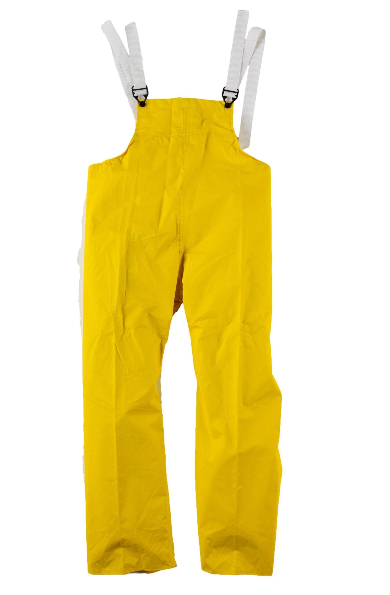 Neese 35BT Flame Resistant PVC/Nylon Universal 35 Bib Style Rain Trouser with Elastic Suspenders, Medium, Yellow
