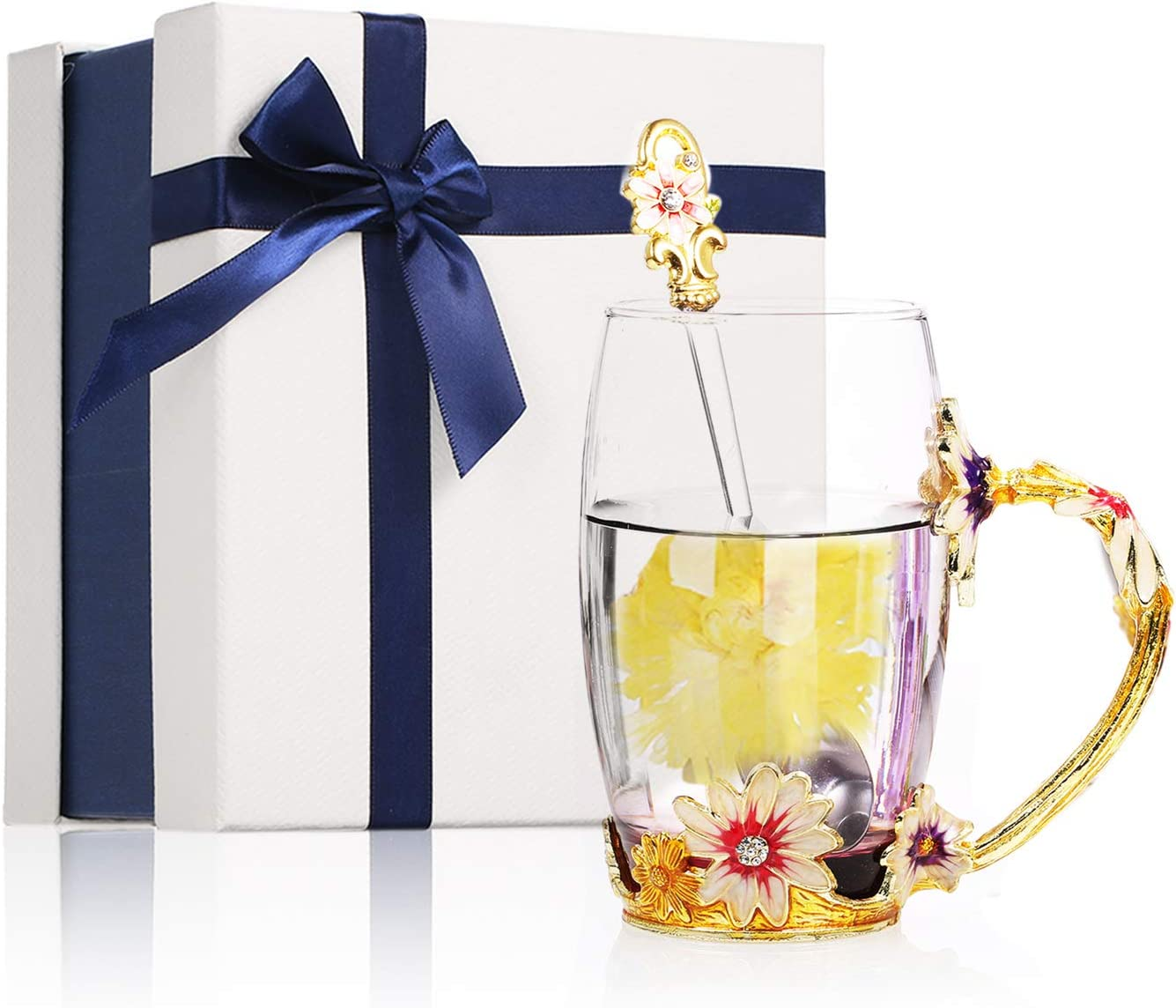 Decdeal 350 ML Taza de Té con Diseño de Flores, Esmaltada, de Cristal, Regalos Personalizados para Mujeres, Dia de la Madre, Hermanas, Cumpleaños, Navidad, San Valentín