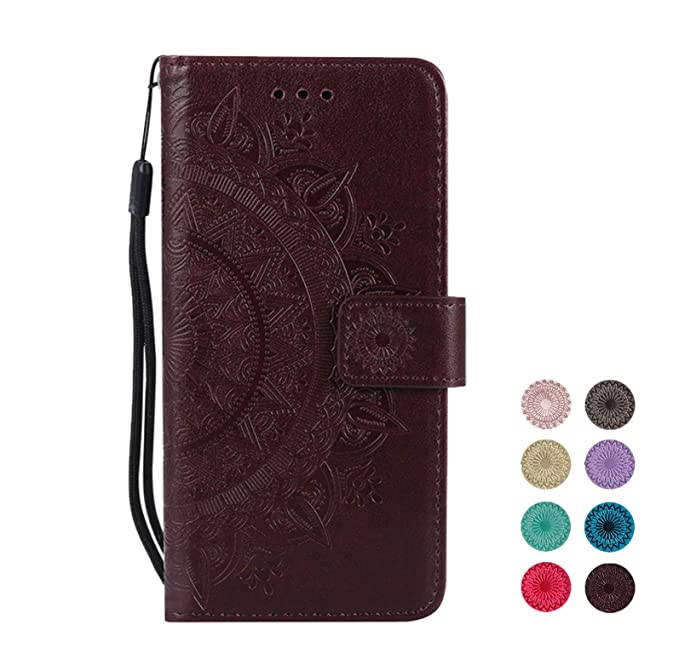 E-Panda kompatibel mit Samsung Galaxy S5 Hülle Brown Mandala Muster Design PU Leather Wallet Cover Flip klappbar Case HandyHü