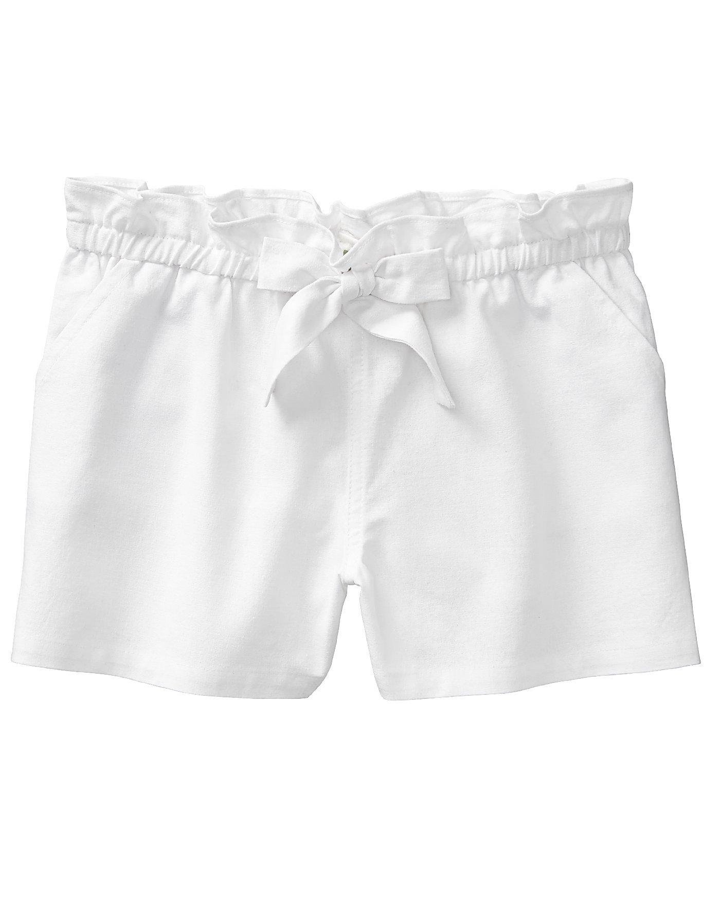 Crazy 8 Little Girls' Woven Bag Short, White Belted, XS