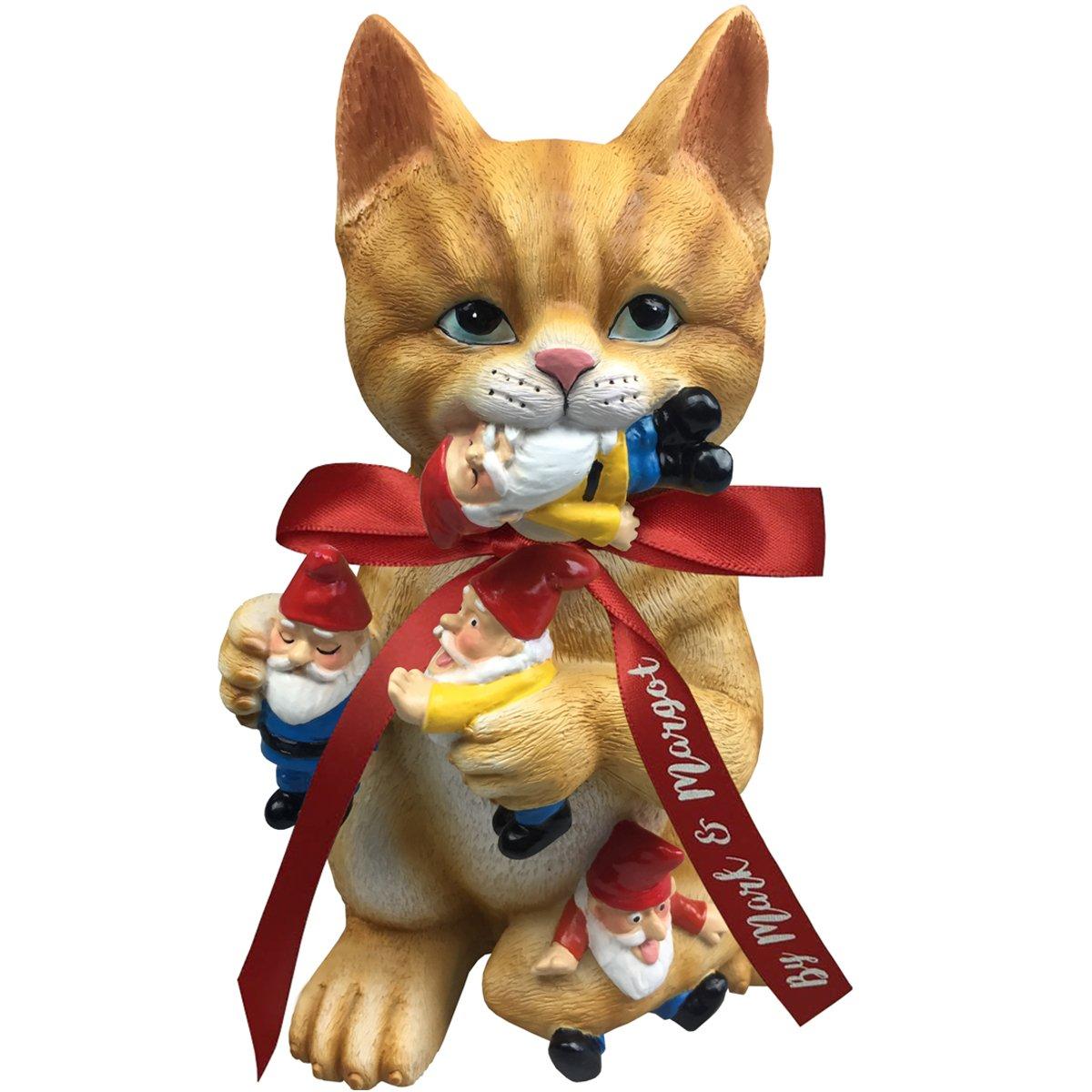 by Mark & Margot - Mischievous Cat Garden Gnome Statue Figurine - Best Art Décor for Indoor Outdoor Home Or Office (Orange)