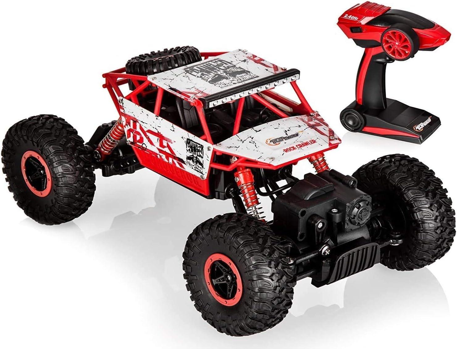 Top Race Coche teledirigido RC 4x4 Monster Truck | Juguete de Control Remoto 2.4Ghz| 4WD Buggy Race Crawler Coches teledirigidos | Juguetes para niños Adulto TR-130 (Rojo)