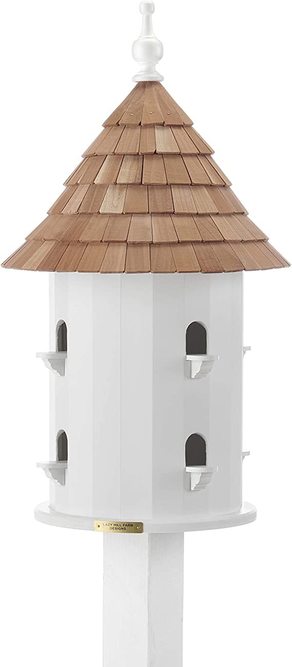 Amazon Com Lazy Hill Farm Designs 41401 Bird House White Solid Cellular Vinyl With Natural Redwood Shingle Roof 16 Inch Wide By 28 Inch Tall Dovecote Garden Outdoor