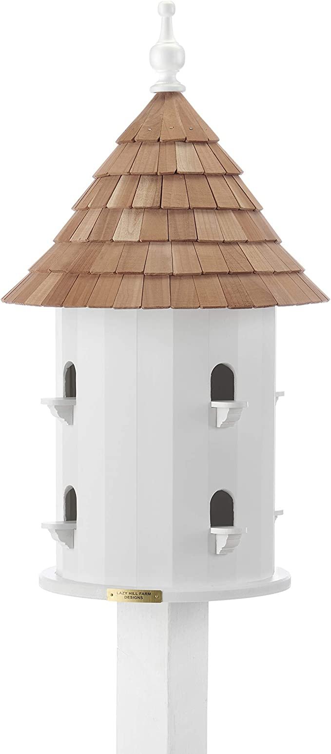 Lazy Hill Farm Designs 41401 Bird House White Solid Cellular Vinyl With Natural Redwood Shingle Roof 16 Inch Wide By 28 Inch Tall Amazon Co Uk Garden Outdoors
