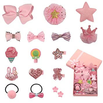 6c2d050d31 SUBANG 17 Pieces Hair Clips Hair Bows Barrettes Hair Accessories Set the  Good Gift for Girl Kids...
