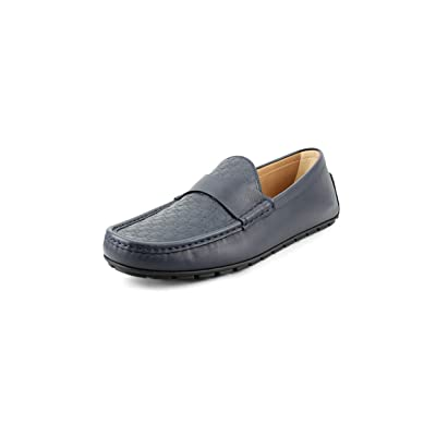 Gucci Men's Microguccissima Leather Full Bottom Driver, Navy: Shoes