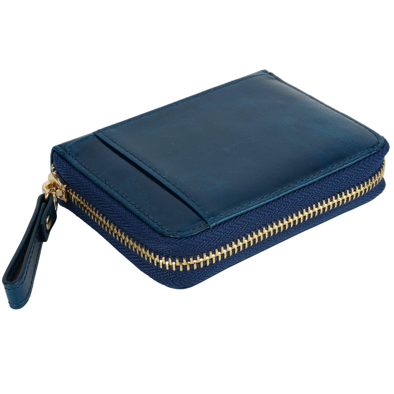 Yaluxe Mujer Compacto Cuero Porta Tarjeta Cartera con Zipper (Caja de Regalo) Azul: Amazon.es: Zapatos y complementos