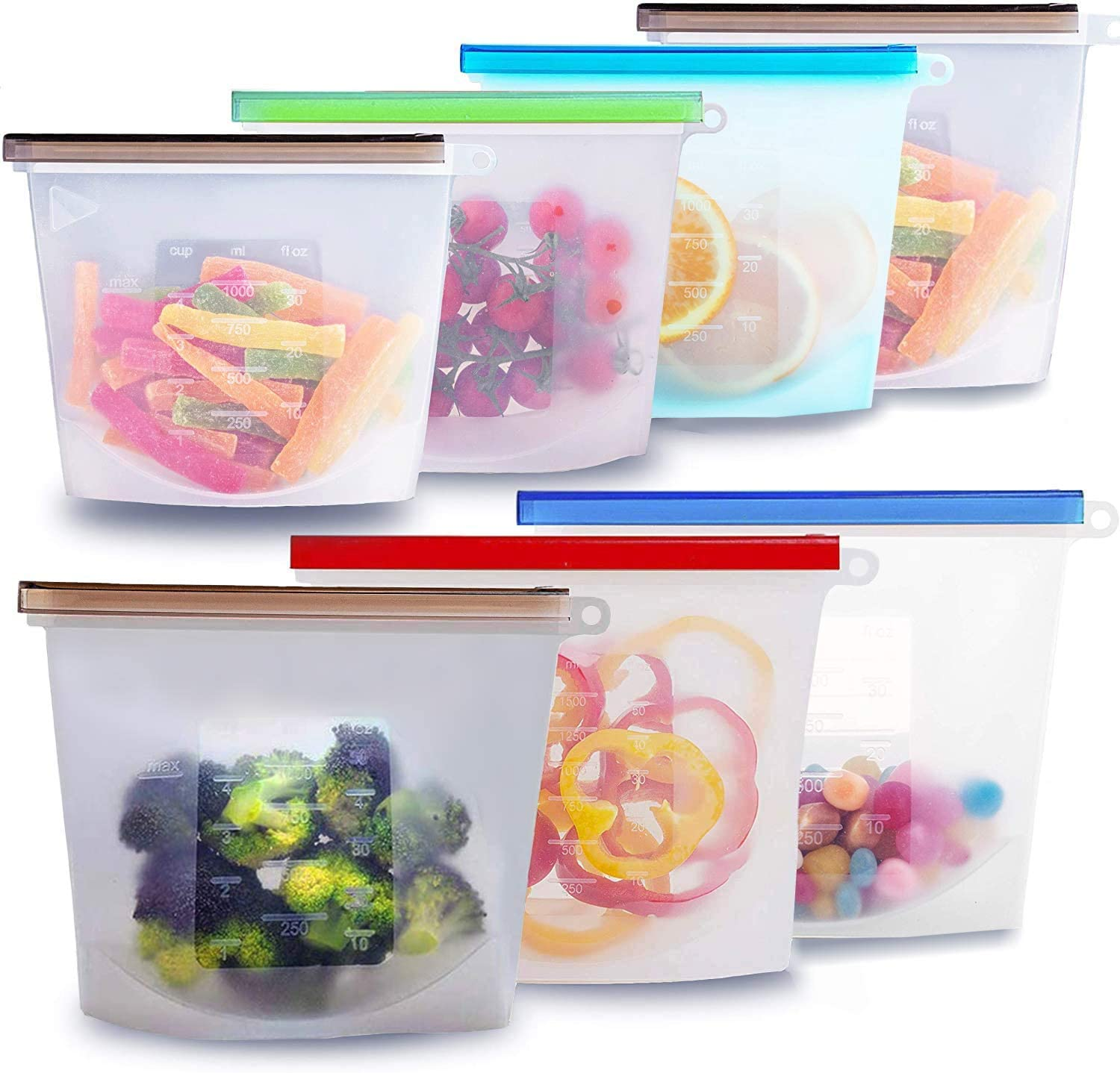 Silicone Bags Reusable Silicone Food Bag 7pcs Reusable Sandwich Bags Ziplock Bags Silicone Storage Bags Silicon Containers Plastic Conteiner Freezer Gallon Size Zip Snack Sous Vide Lunch…