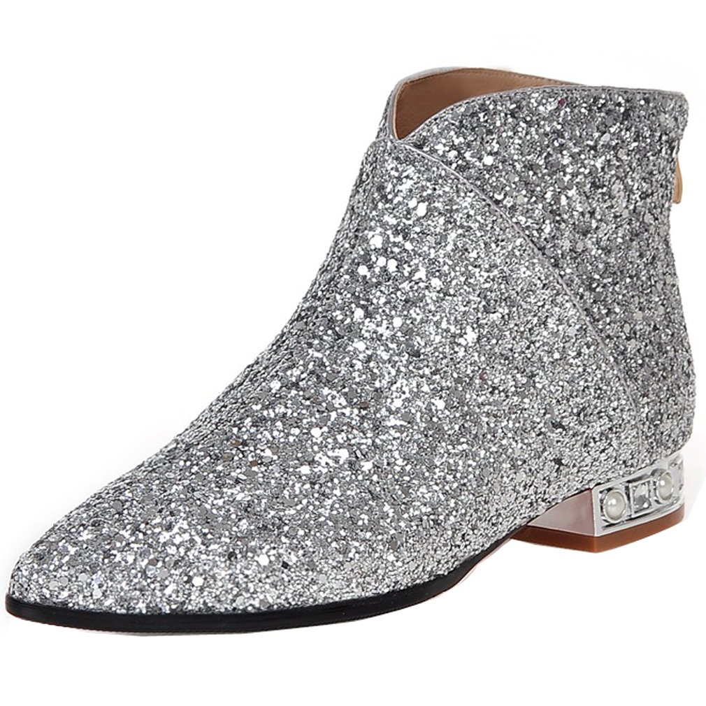 ENMAYER Women's Silver Charming Sequins Style Ankle Boots 5.5 B(M) US