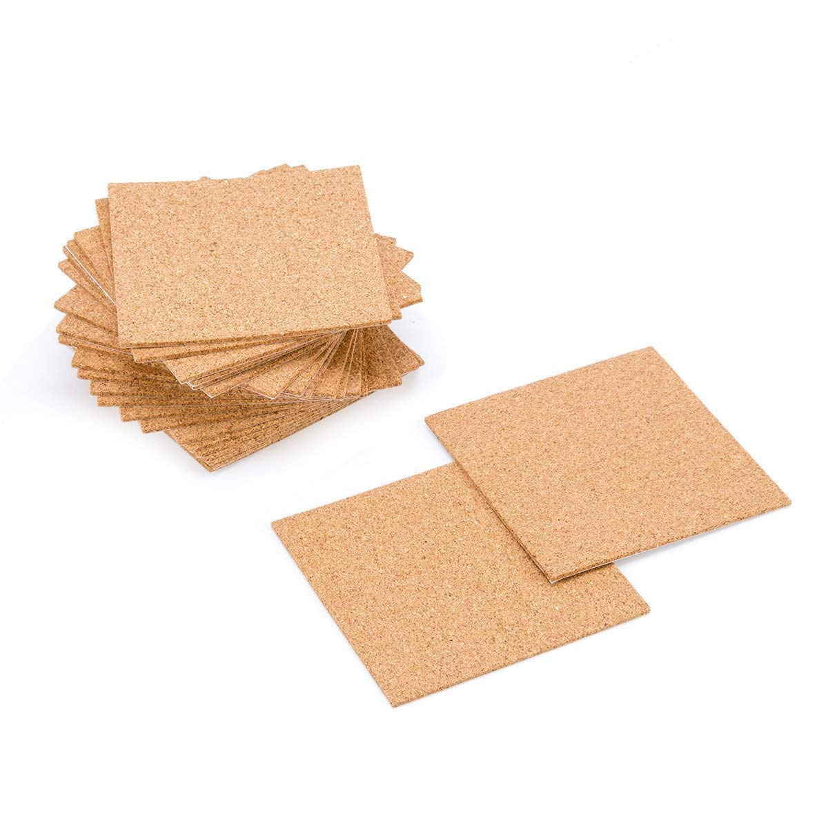 60 Pack Self-Adhesive Cork Squares - 4''x 4'' Cork Backing Sheets Mini Wall Cork Tiles for Coasters and DIY Crafts