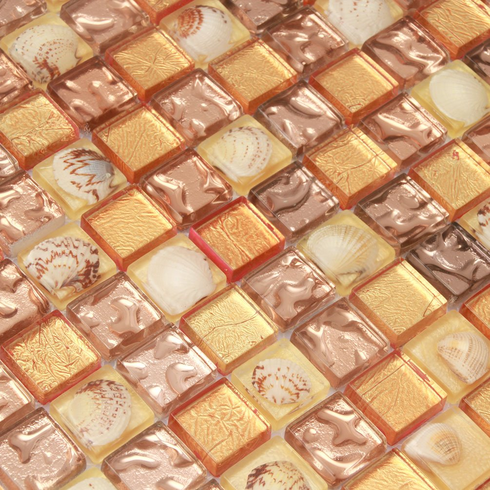 Golden Crystal Tiles Fireplace Wall Mosaic Glass Conch Tile Kitchen Backsplash Brown Seashell Materials [Pack of 11PCS(11.8x11.8x0.31 Inches/each)]